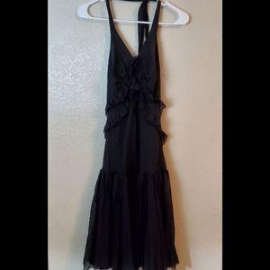 Patrizia Pepe Silk Black Halter Ruffle Dress Italy